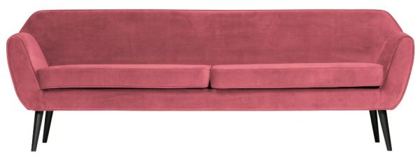 Sofa Rocco XL in Samt-Optik in rosa von WOOOD
