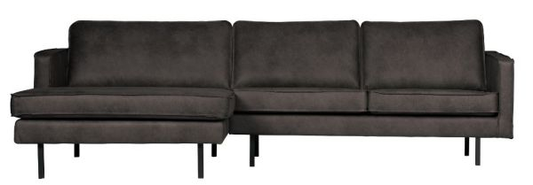 Eckcouch Rodeo mit Chaiselongue links in schwarz von BePureHome