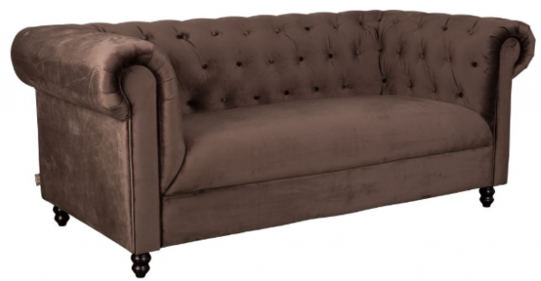 Sofa Chesterfield Chester in Dunkelbraun Samt-Look